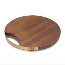 Load image into Gallery viewer, Wood Charcuterie Board with Gold Handle - Lavish Cheese