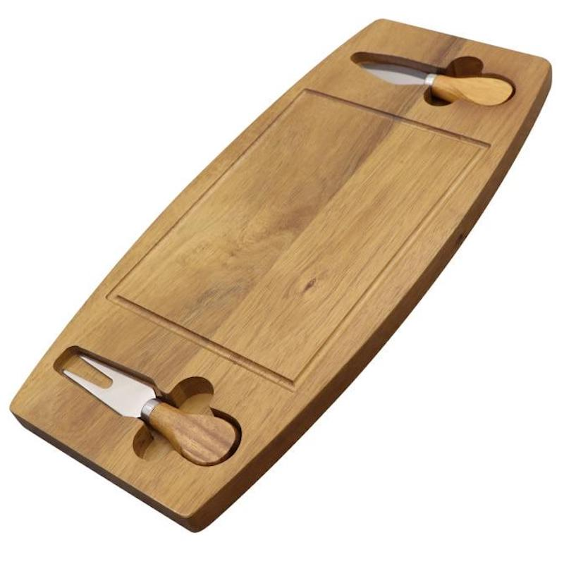 Wood Cheeseboard or Charcuter Platter with matching Cheese Knives for serving - Lavish Cheese
