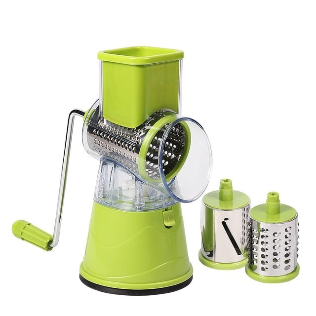 Counter top rotary cheese shredder with three drums for grating, slicing and zesting - Lavish Cheese