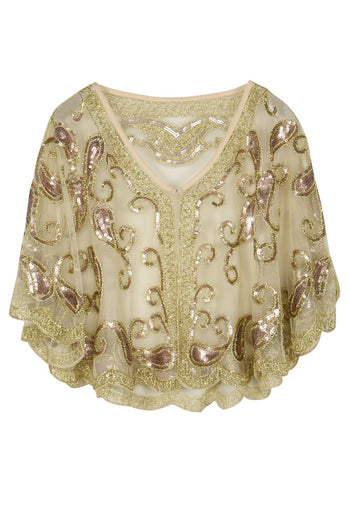 1920s Ivory Glitter Sequins Cape