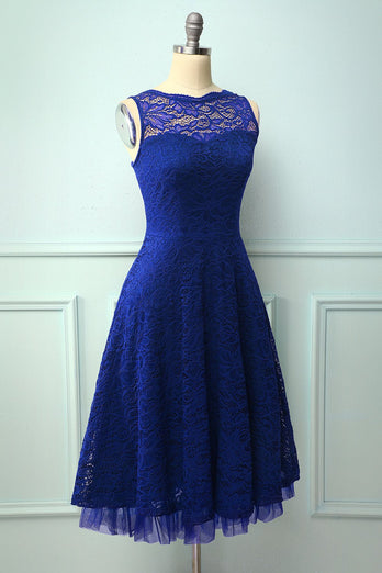 Vestido formal azul royal de renda