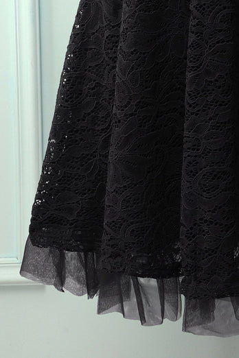 Vestido formal preto com renda