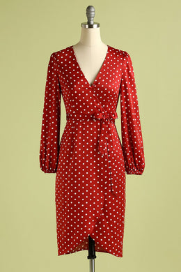 Burgundy Polka Dots Casual Dress