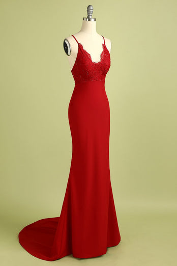 Red Mermaid Open Back Prom vestido de dama de honra