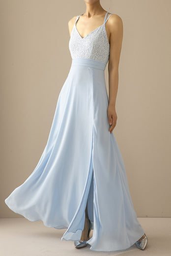 Azul Longo Chiffon Open Back Prom Dress