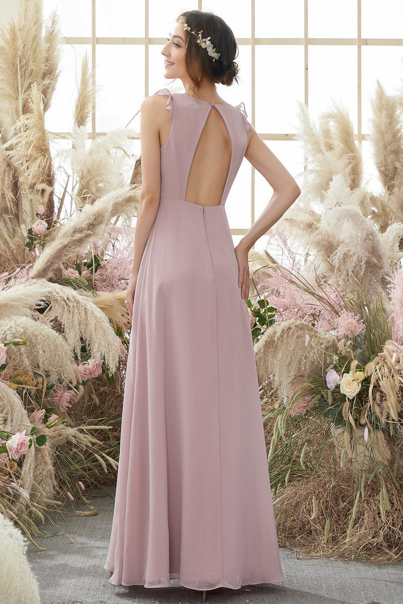 Carregar imagem no visualizador da galeria, Blush Open Back Chiffon Bridesmaid Dress