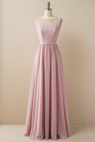 Blush Long Chiffon & Lace Vestido Formal