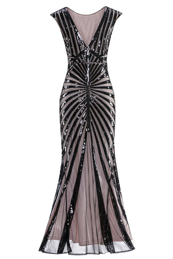 Mermaid Black 1920s Sequined Flapper Dress