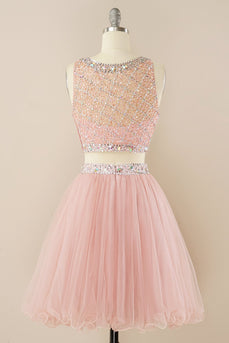 Blush Beading Short Homecoming Dress
