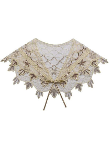1920s Ivory Flower Sequin Women Cape