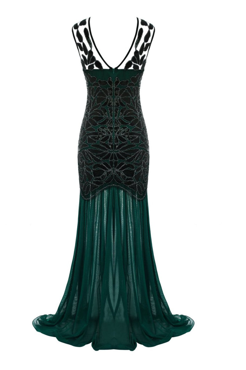 Carregar imagem no visualizador da galeria, Dark Green 1920s Sequined Flapper Dress