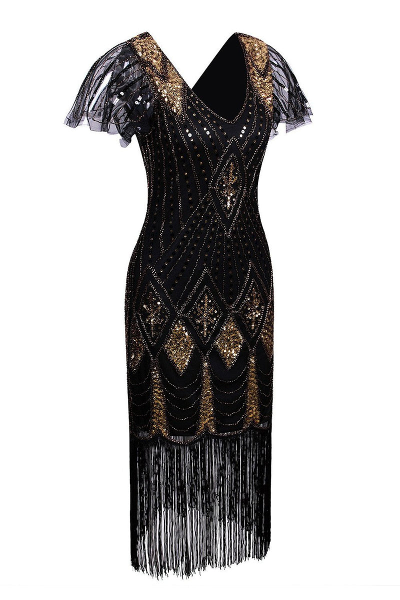 Carregar imagem no visualizador da galeria, Black and Gold Flapper 1920s Sequins Dress