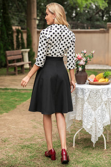 Preto e branco Polka Dots 1950s Dress