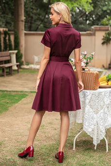 V Pescoço Burgundy Vintage Dress com mangas curtas
