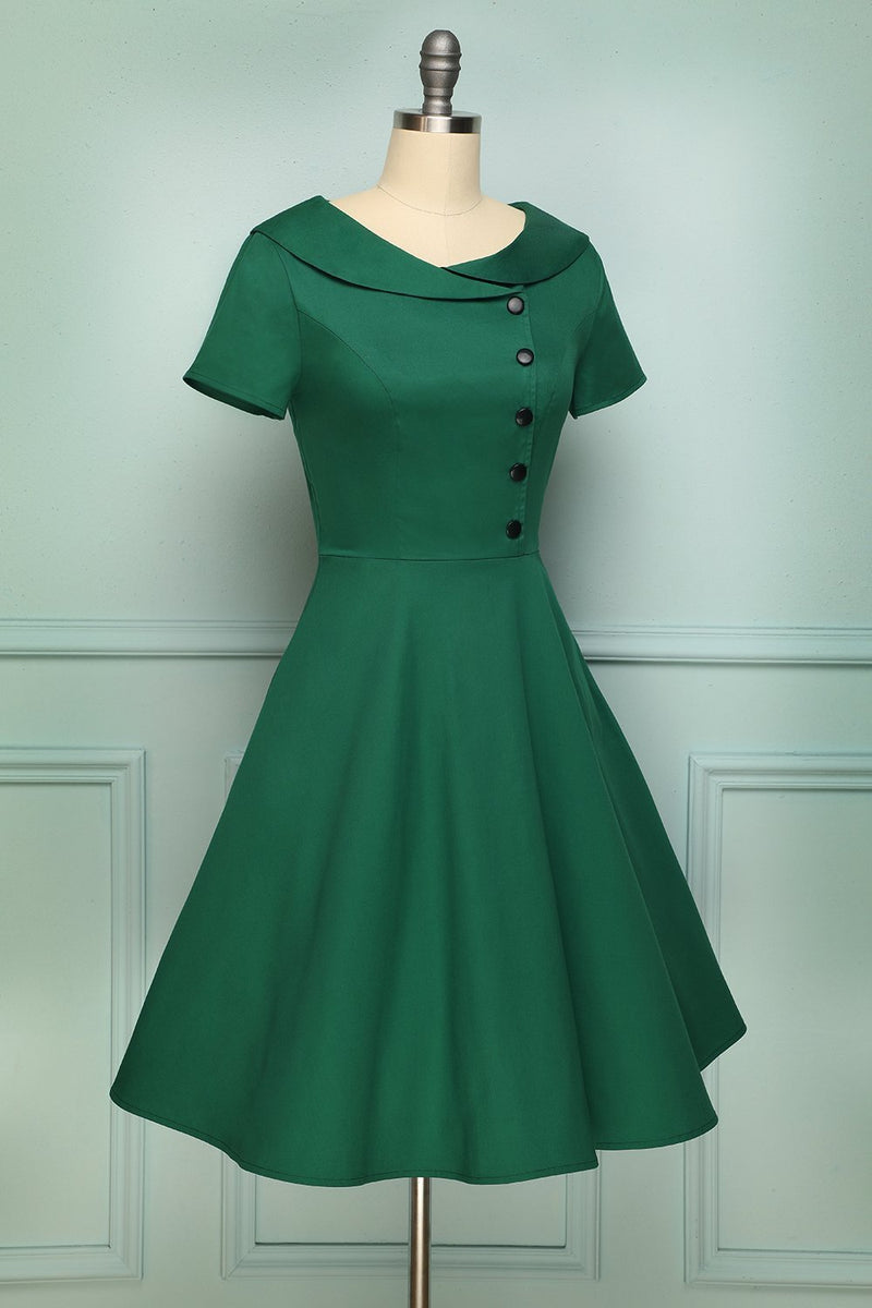 Carregar imagem no visualizador da galeria, Green Button Dress - ZAPAKA