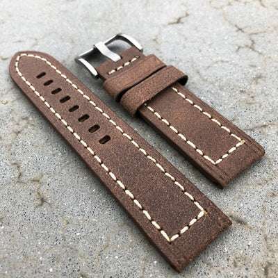 Suzuka Brown | Continental Italian Calf Leather Watch Strap - Samurai Vintage Co.