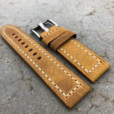 Monaco Orange | Continental Italian Calf Leather Watch Strap - Samurai Vintage Co.