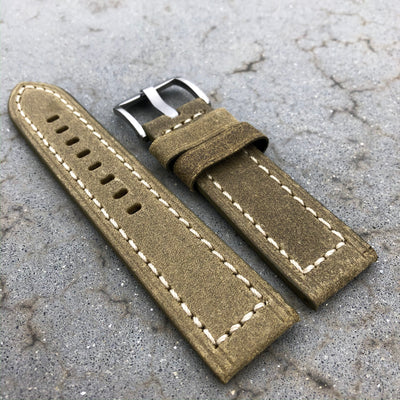 Olive Green | Continental Italian Calf Leather Watch Strap - Samurai Vintage Co.