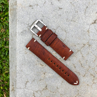 Vintage Brown | Stealth Calf Leather Watch Strap - Samurai Vintage Co.