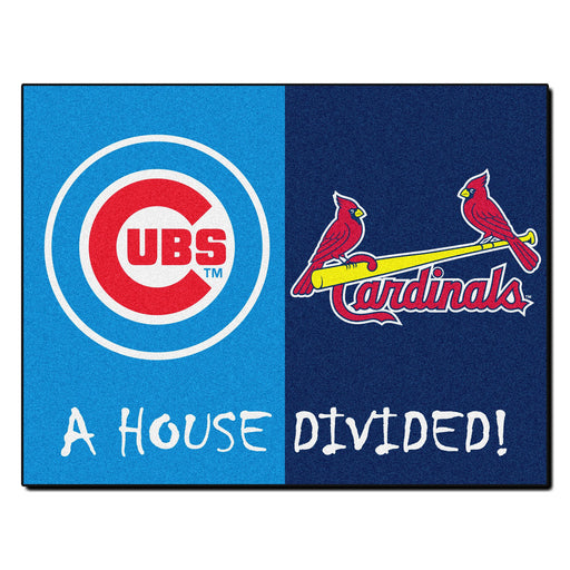 Chicago Cubs - St. Louis Cardinals MLB House Divided Rugs 33.75x42.5
