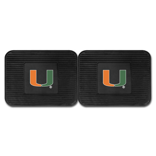 University of Miami Backseat Utility Mats 2 Pack 14x17