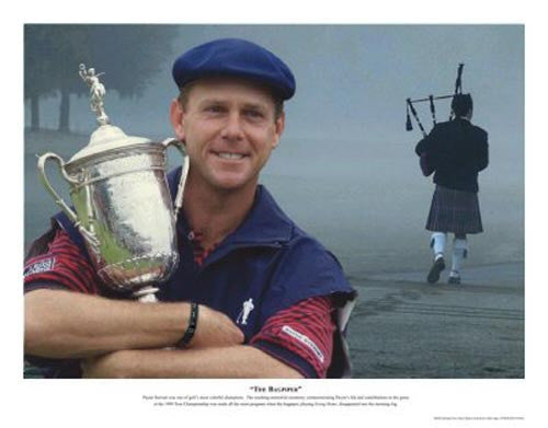 PAYNE STEWART THE BAGPIPER 13X16 GOLF LITHO