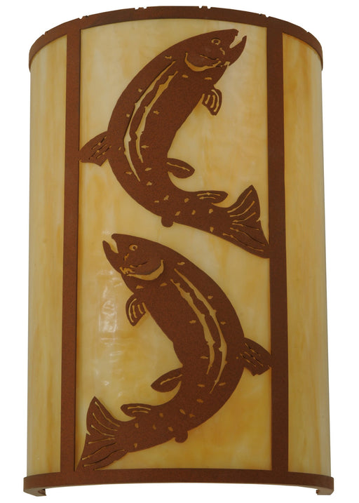 12 Inch W Leaping Trout Wall Sconce