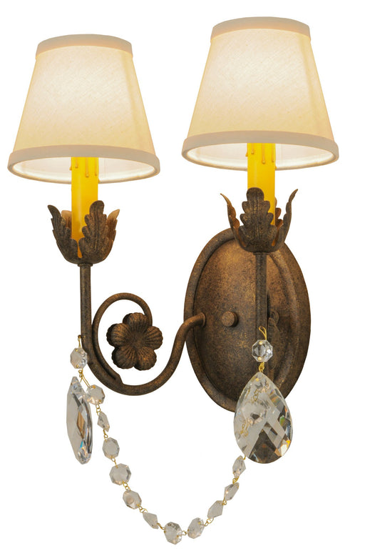 12 Inch W Antonia 2 Lt W/Crystals And Fabric Shades Wall Sconce