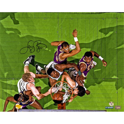 Larry Bird Signed Boston Celtics vs Los Angeles Lakers Aerial View 16x20 Photo