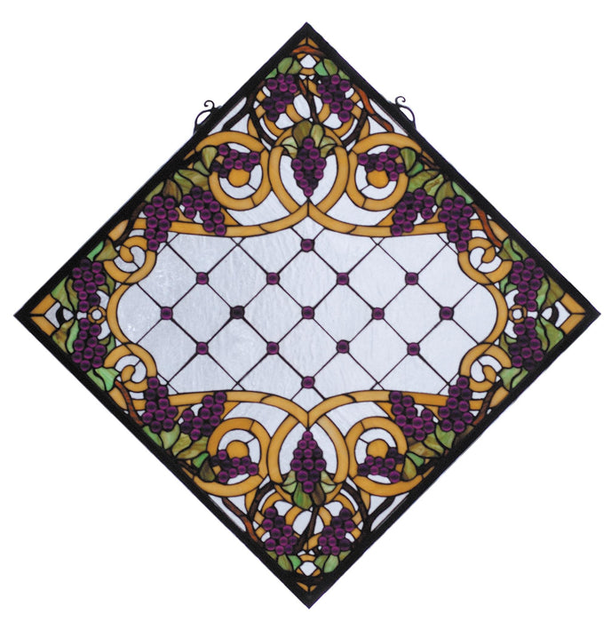 25.5 Inch W X 25.5 Inch H Jeweled Grape Stained Glass Window