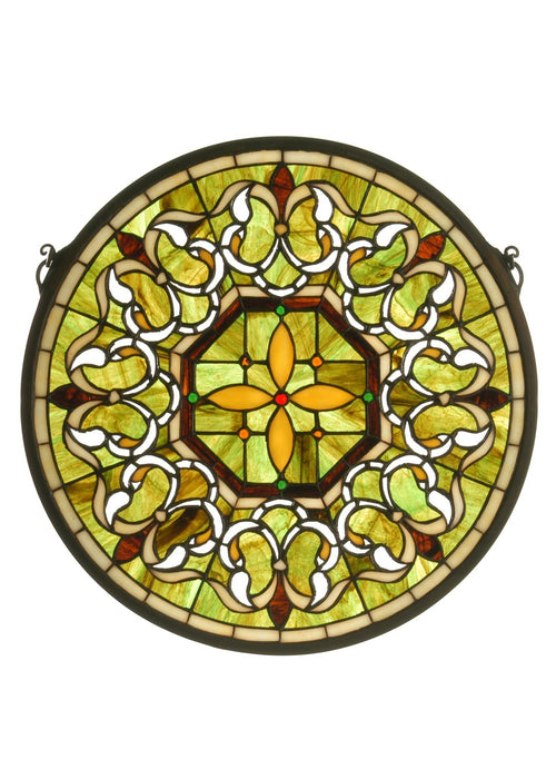 16 Inch W X 16 Inch H Fleuring Medallion Stained Glass Window
