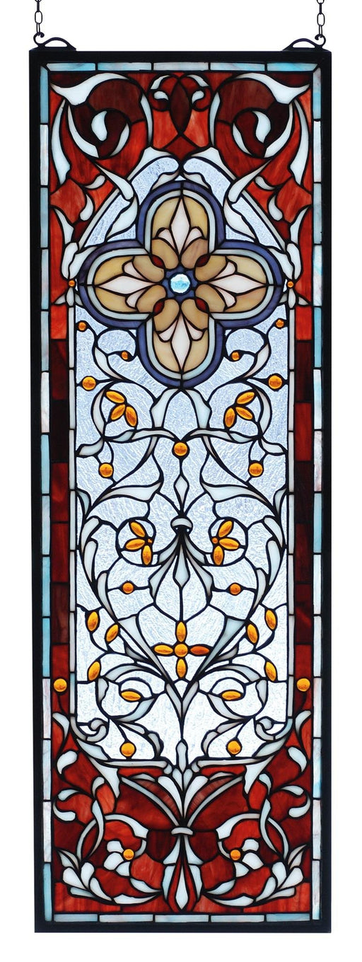 11 Inch W X 32 Inch H Versaille Quatrefoil Stained Glass Window