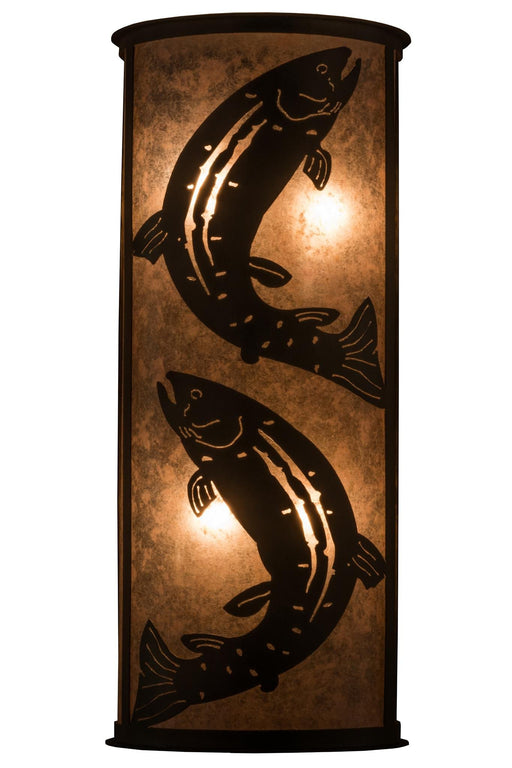 13 Inch W Leaping Trout Wall Sconce