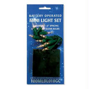 Battery Operated 12 Clear Mini Lights w-Green Wire