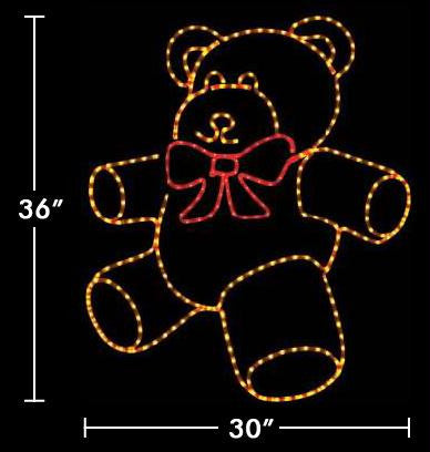 3' Teddy Bear with Bright Red Bow