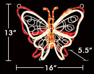"16"" Fluttering Butterfly - Red-White"
