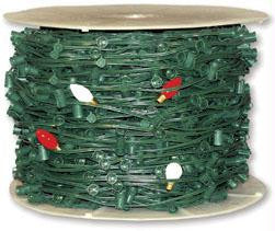 500' C7 SPT2 10AMP Green String Light w-12 Inch Spacing