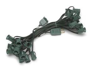 25' C7 SPT2 10AMP Green String Light w-12 Inch Spacing