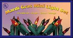 50 Mardi Gras Mini Lights w-Green Wire