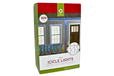 300 Light Icicle Set - Blue with Green Wire (2 drops)