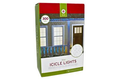 300 Light Icicle Set - Blue with White Wire (2 drops)