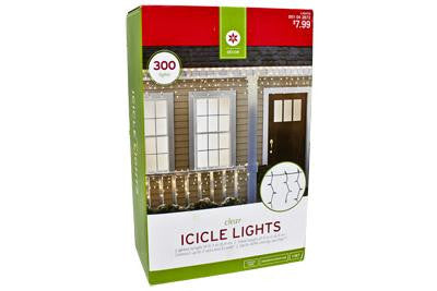 300 Light Icicle Set - Clear with Green Wire (2 drops)