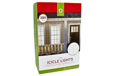 300 Light Icicle Set - Clear with White Wire (2 drops)