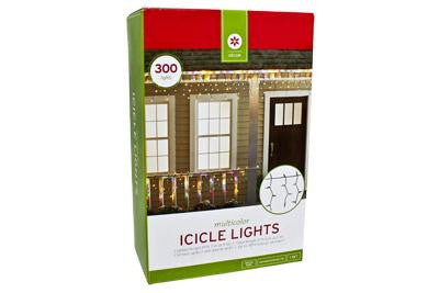 300 Light Icicle Set - Multi with Green Wire (2 drops)