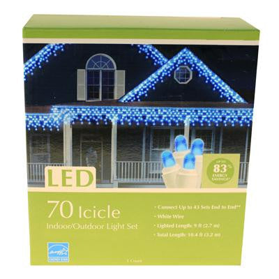 70 LED Icicle Light Set - Blue (2 drops)