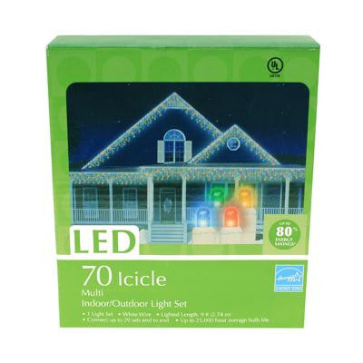70 LED Icicle Light Set - Multi (2 drops)