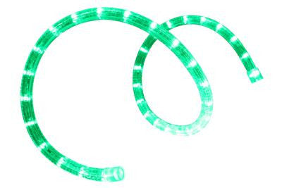 "Pre-Cut LED 2-Wire 120 Volt 1-2"" Green Rope Light (Horizontal)"