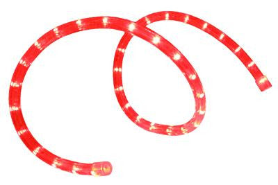 "Pre-Cut LED 2-Wire 120 Volt 1-2"" Red Rope Light (Horizontal)"