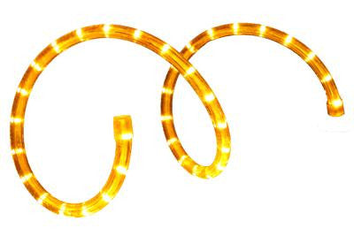 "Pre-Cut LED 2-Wire 120 Volt 1-2"" Yellow Rope Light (Vertical)"