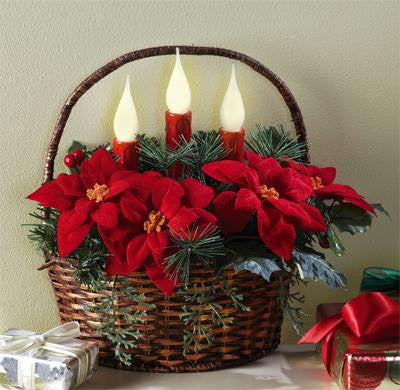 Christmas Poinsettia Basket